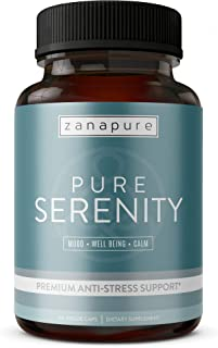 PURE SERENITY Premium Anxiety Relief & Stress Support Supplement -Pharmaceutical Grade All Natural Calmness, Positive Mood & Relaxation Support - 5 htp, Ashwagandha, L-Theanine, Rhodiola, Bacopa