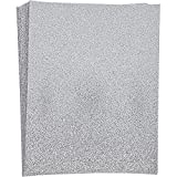 Paper Junkie Silver Glitter Craft Paper, Single Sided, 8.5 x 11 Inches (24 Sheets)