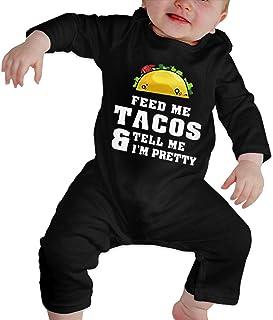 DJNGN Füttere Mich Tacos Sag Mir, ich Bin hübsches Baby Langarm Bodysuit Baumwolle Säugling Strampler Overalls für Jungen Mädchen