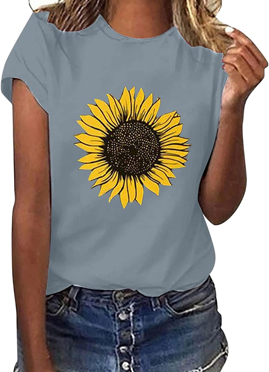 T Shirts Women Graphic Funny Printed Short Sleeves Tee Tops Casual Dandelion Printed Loose Blouses Tunic Tees
