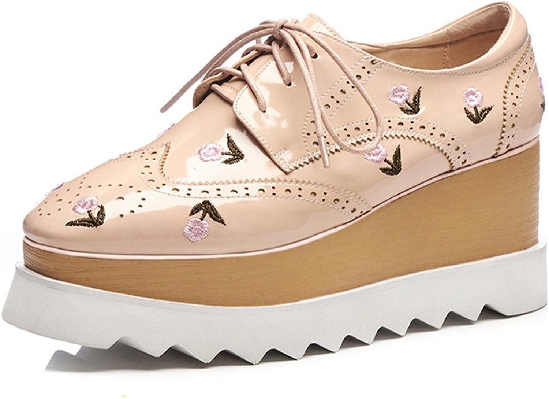 Nine Seven Genuine Leather Women's Round Toe High Heel Lace Up Handmade Platform Cute Pumps shoes