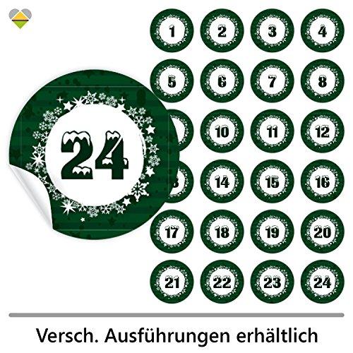 cute-head 24 Adventskalender-Zahlen (Aufkleber Etiketten Sticker) | Romantic Snow | Schrift: Schnee | Rund | M » Ø 40 mm | Tannen-Grün | F00006-05