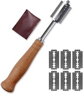 Cortador de pan para panes, herramienta de cortar, cortador de mango de madera, cortador de maquinilla de afeitar de acero inoxidable, cuchillos de pan para bricolaje cocina