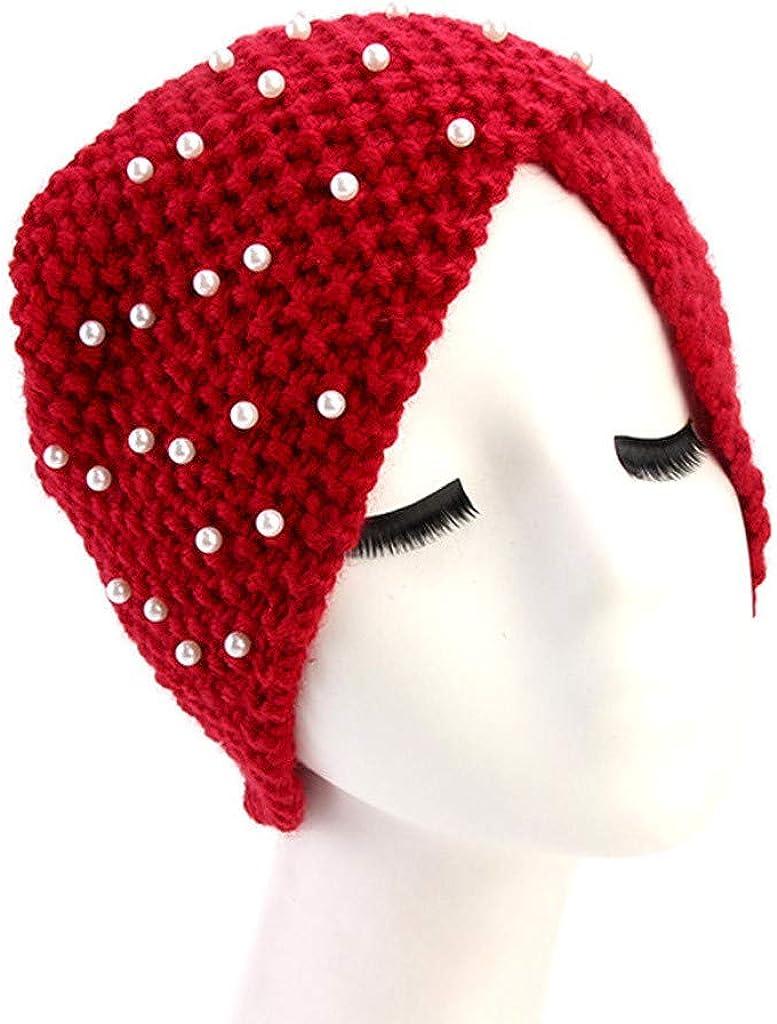 GreatestPAK Damen Einfarbig Zopf Kopf Mütze Kopftuch Hijab Druck Rüsche Turban Rot_1