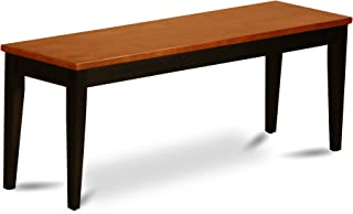 Parfait Dining Room Bench with Wood Seat in Black and Cherry Finish