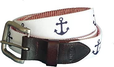 No27 Men's Navy Anchor on White Leather Belt, Navy Blue Anchor on White Fabric with Leather Tab and Buckle