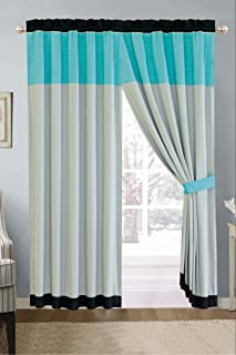 Modern 4 Piece Aqua Blue / Black / Grey Quilted Stripe Curtain set with attached Valance and Sheers