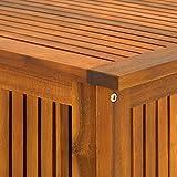 Auflagenbox Holz | Akazie | XXL 117cm | mit Innenplane | vorgeölt | Holztruhe Holz Kissenbox Gartenbox Gartentruhe Truhe - 8