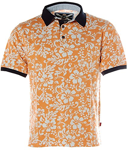 Signum Herren Kurzarm Shirt Poloshirt Polokragen Pikee Hawaii-Print Orange L