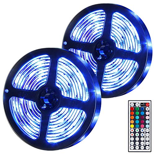 UBEGOOD LED Strip 10M, LED Streifen RGB LED Stripe 300 SMD 5050 LEDs Bänder mit 44 Tasten IR-Fernbedienung Dimmbar Led Stripes Kit für Haus, Party, TV, Hochzeit, Terrasse Dekoration, Feriendekoration