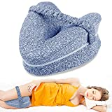Almohadas posicionadoras de Pierna– Mejor para Pierna, Espalda, y Rodilla Pain- cuña de Espuma con Efecto Memoria Contour Pierna Almohada con Funda extraíble (Azul Pillow)