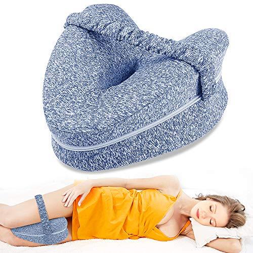 Almohadas posicionadoras de Pierna– Mejor para Pierna, Espalda, y Rodilla Pain- cuña de Espuma con Efecto Memoria Contour Pierna Almohada con Funda extraíble (Azul)