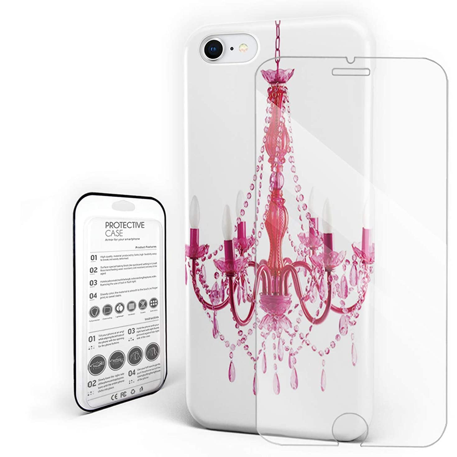 Russian Lamp Color Candle Chandelier Phone Case Slim Hard PC Back Cover with Glass Screen Protector Set for iPhone 7 Plus/8 Plus