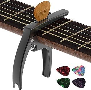 TANMUS カポタスト 、三イン一亜鉛合金ギターカポタスト,アコースティックギター&エレクトリックギター用(ピッククリップ&ピック*4付き)弦楽器 、ウクレレ 、クラシックギター付属品 Capo