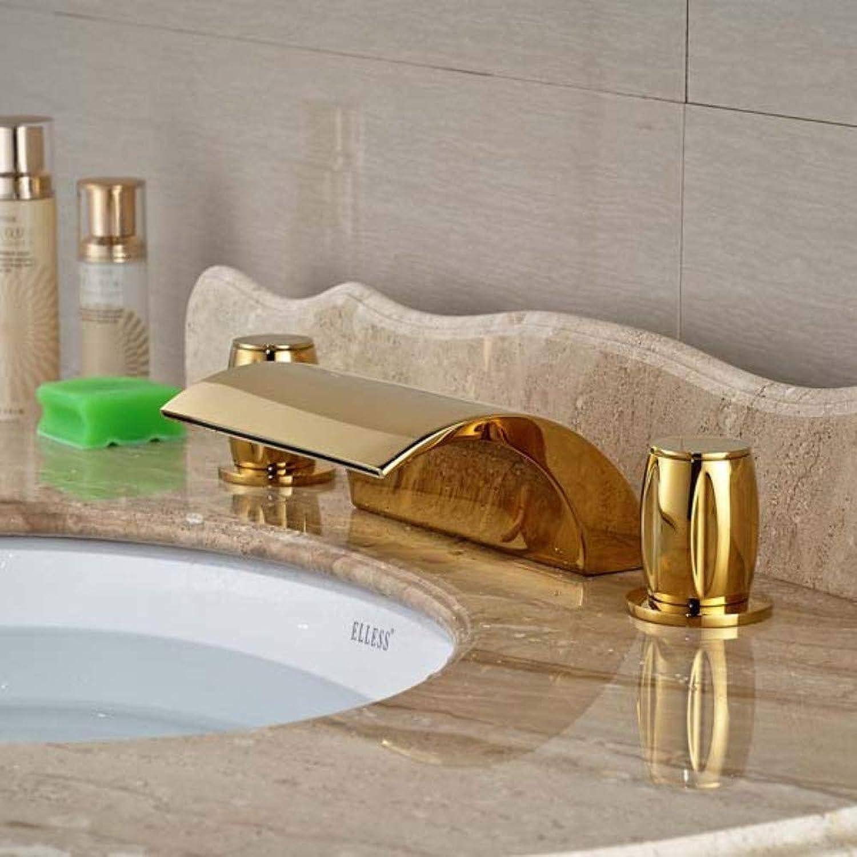 Floungey BadinsGrößetionen Waschtischarmaturen Küchenarmaturen Goldener Messingrmischer Wasserfall-Badezimmer-Bassin-Hahn-Doppelgriff-Mischer-Hahn