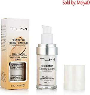 TLM Warming Skin Tone Lquid Foundation Flawless Concealer Makeup Base Nude Face Liquid Cover Shadows Natural Moisturizing Liquid for Women and Girl