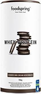 comprar comparacion foodspring Proteína Whey, Sabor Cookies & Cream, 750g, 100% proteína de suero de leche, Proteína en polvo para el desarrol...