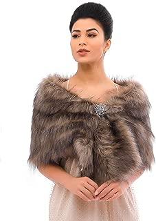 Women's Faux Fur Shawls and Wraps Wedding Faux Fox Fur Stole Bridal Fur Scarf for Bride and Bridesmaids
