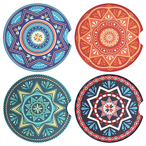 tifanso 4 Pack Car Coasters Absorbent Ceramic Car Cup Holder Coasterswith Removable Finger Notch, Mandala Car Cup Coasters for Car, Cute Car Coaster for Women Girls