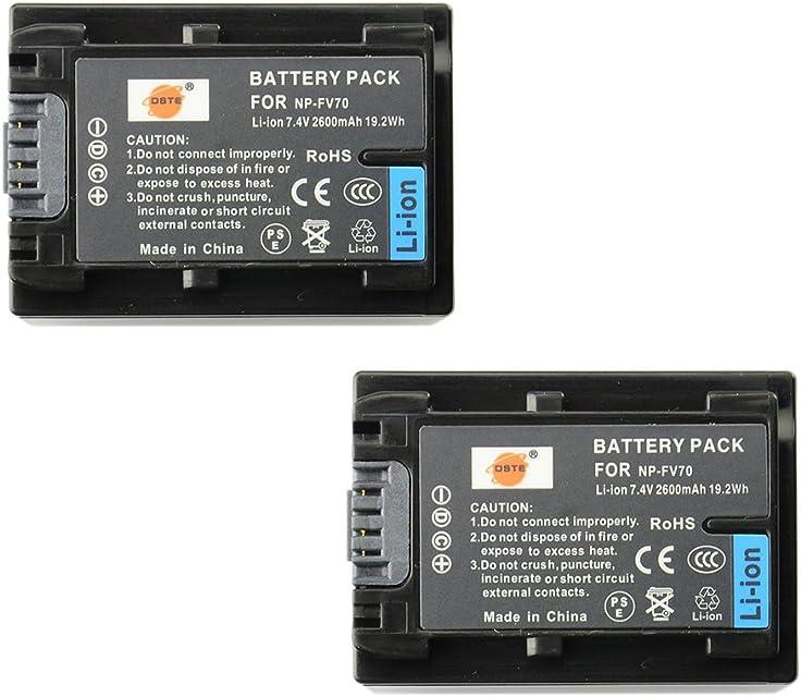 DSTE 2-Pieza Repuesto Batería Compatible con Sony NP-FV70 DCR-SR15 SR21 SR68 SR88 SX15 SX21 SX44 SX45 SX63 SX65 SX83 SX85 FDR-AX100 HDR-CX105 CX110 CX115 CX130 CX150 CX155 CX160 CX190 CX200 CX210 CX220 CX230 CX260V CX290