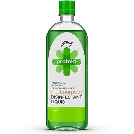 Godrej Protekt Multipurpose Disinfectant Liquid - Kills 99.9% Germs, Anti-bacterial, for Home & Personal Hygiene, Citrus Fragrance (1L)