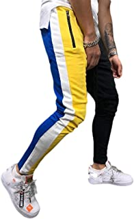 RkBaoye Men's Contrast Individuality Comfort Tapered Sport Athletic-Fit Pants