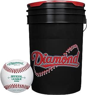 Diamond 6-Gallon Ball Bucket with 30 DOL-A Baseballs, Black