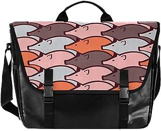 Bolso de lona para hombre y mujer, diseño de cerdo a rayas, color negro