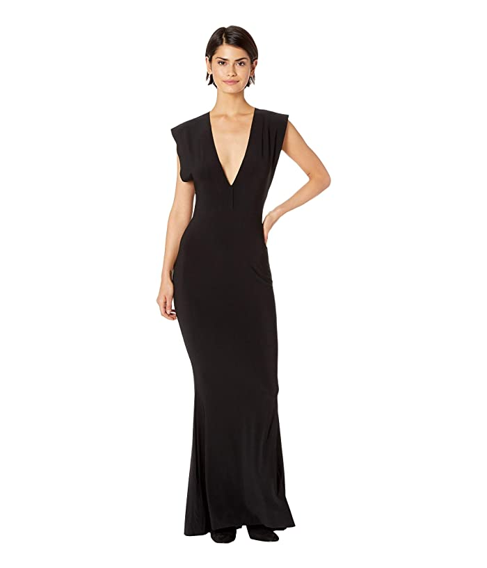 KAMALIKULTURE by Norma Kamali V-Neck Rectangle Gown (Black) Women