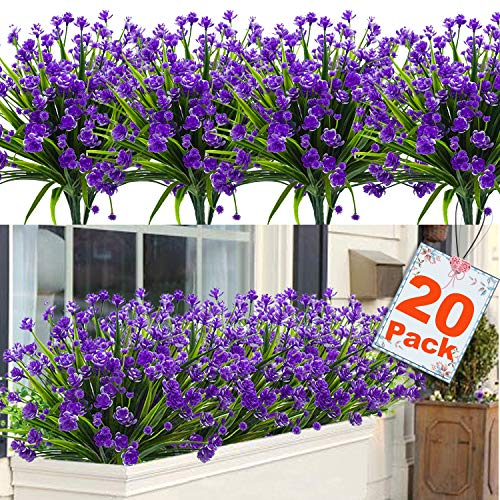 20 Bundles Artificial Flowers for Outdoor Decoration, UV Resistant Faux Outdoor Plastic Greenery Shrubs Plants Artificial Fake Flowers Hanging Planter Kitchen Home Wedding Office Garden Decor (Purple)