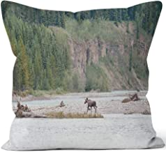 Moose Crossing Stikine River Home Decorative Throw Pillow Cover,HD Printing Square Pillow case,36