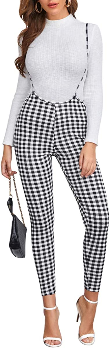 Luxury Romwe Women's Casual Plaid Factory outlet Skinny Pants Suspender Jumpsuits Over