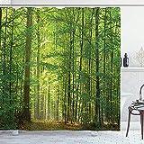 abby-shop Waldduschvorhang, Laubwaldbäume im Sommerlaub Sonnenstrahlen Romantische Feiertage Szenisches Bild, Grüngelb