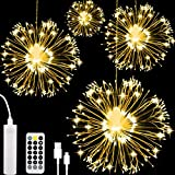 AXUAN 4 Pack LED Firework Light, USB Rechargeable Battery Operated Hanging Waterproof String Light, 8 Modes Starburst Fairy Light with Remote, Decorative for Christmas Party Home Garden Wedding