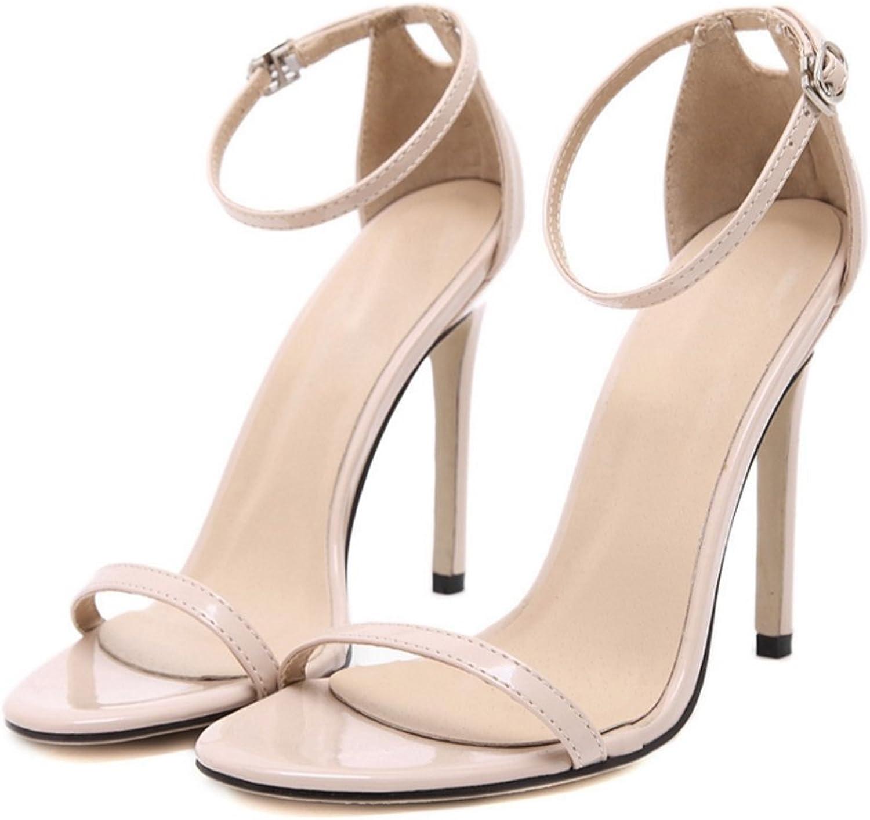 LZWSMGS Women's shoes Suede shoes Buckle Sandals Lace High Heel Sandals Simple Street High Heels Summer 35-40cm Ladies Sandals (color   Apricot, Size   36)