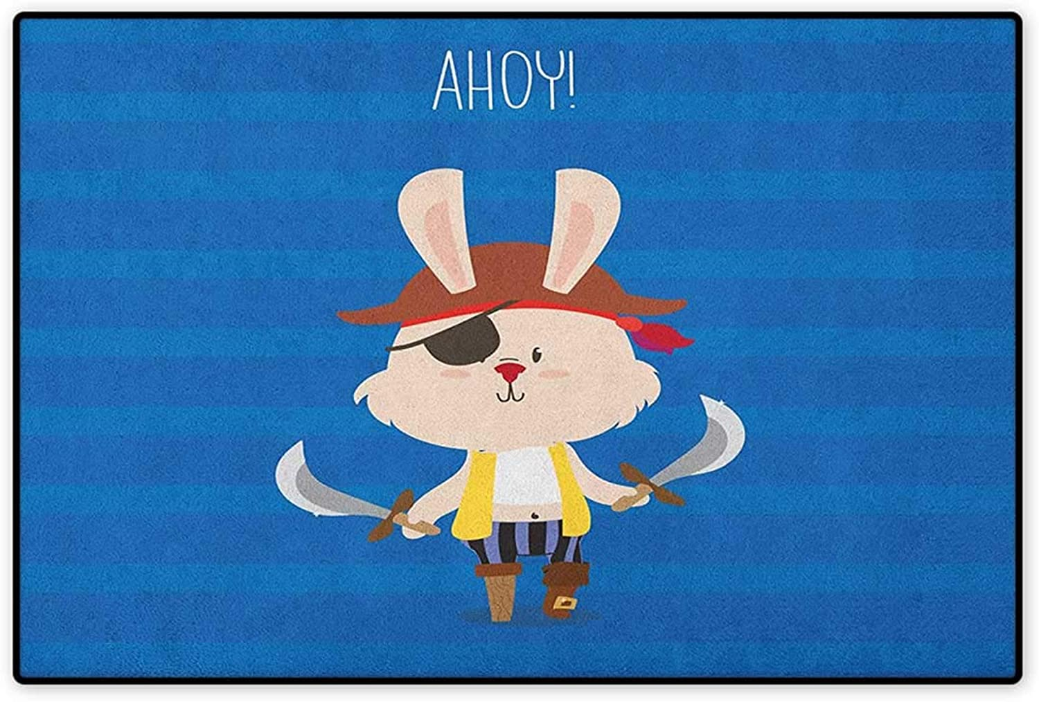 Ahoy Its a Boy,Door Mat Non Slip,Pretty Pirate Rabbit Bunny with Eye Patch Funny Graphic Cartoon Illustration,Floor Mat for Tub,Multicolor,Size,32 x48  (W80cm x L120cm)