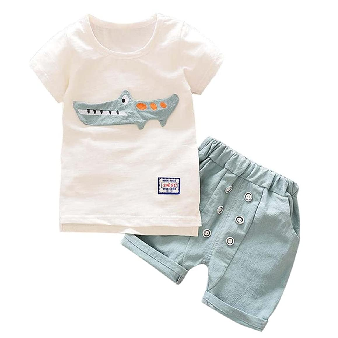 FEITONG Toddler Kid Baby Boy Outfits Clothes Cartoon Crocodile Print T-shirt Tops+Shorts Set