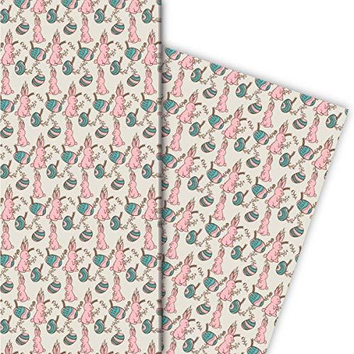 Schönes Oster Geschenkpapier mit handgezeichneten Osterhasen für schöne Geschenk Verpackung 32 x 48cm, 4 Bögen zum Einpacken für Geburtstage, Geburt, Ostern, beige