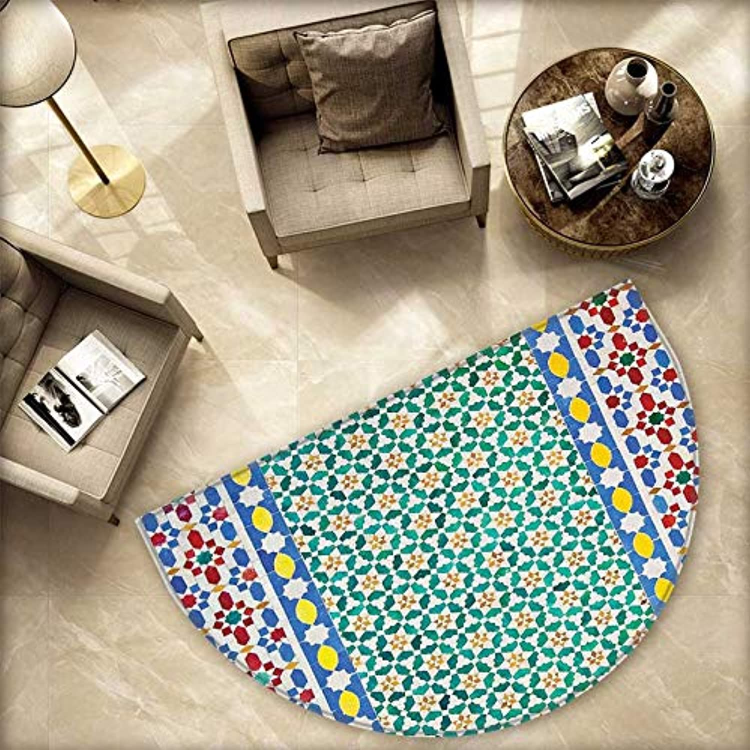 Mgoldccan Semicircle Doormat colorful Mgoldccan Mosaic Wall Middle East Style Craftsmanship greenical Details Halfmoon doormats H 78.7  xD 118.1  Multicolor