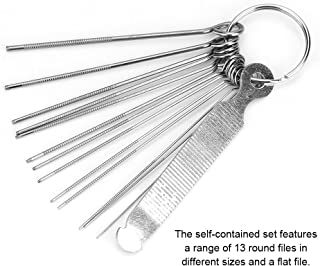 Guitar File Set, Bridge Saddle Nut Files 13 Neddles Set Tool Kit for Instrument String