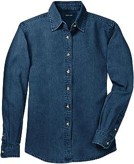 Joe's USA Ladies Long Sleeve Value Denim Shirts in Sizes XS-4XL