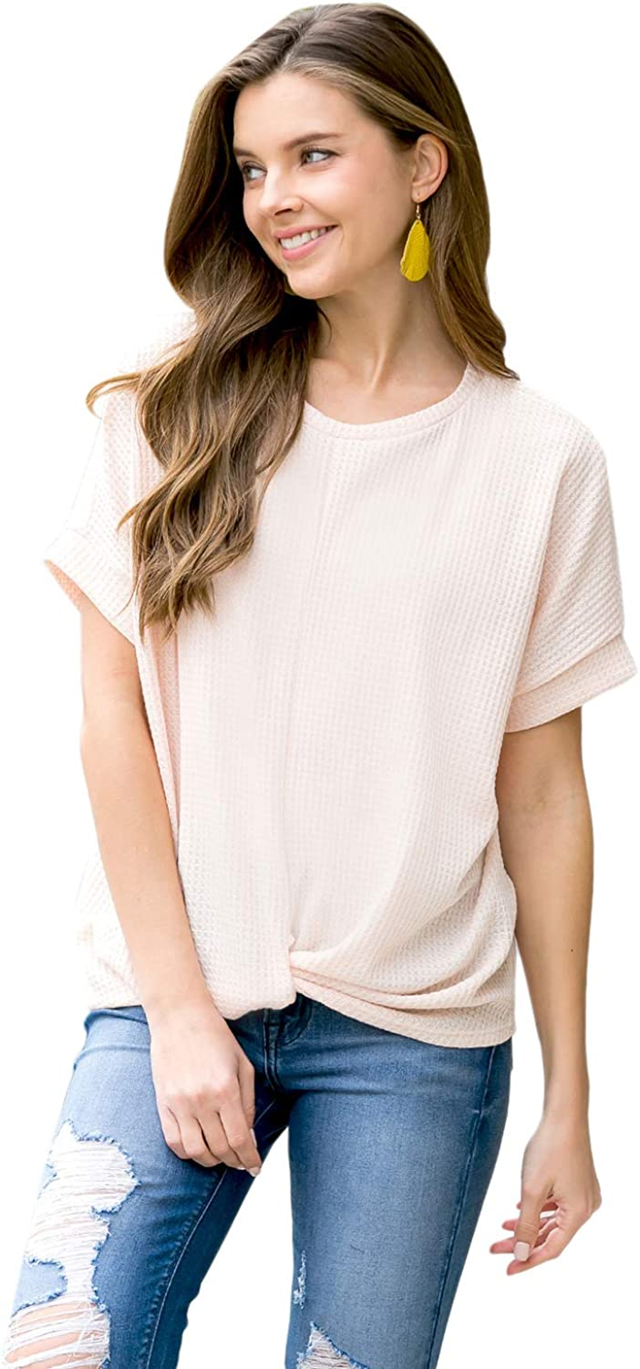 Casual Waist Tie Twist Front Knot Top - Comfy Loose V Neck Button-Down Jersey T-Shirt, Waffle Henley Blouse Short/Long Sleeve