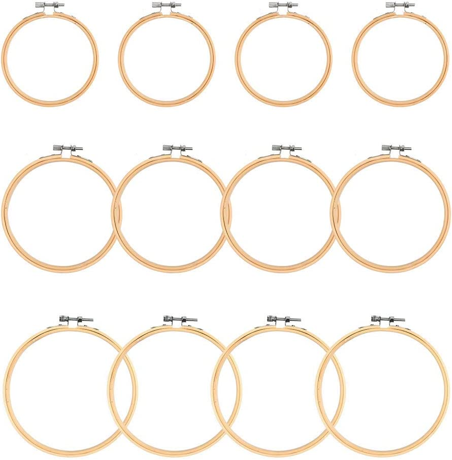 Max 46% OFF WOWOSS 12 Pieces 3 Size Embroidery Wooden Spring new work Adjustable Hoops Round