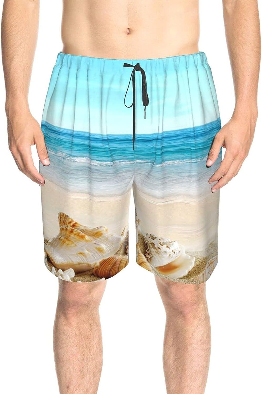 JINJUELS Mens Swim Trunks Sea-Shells Sand Beach Blue Sky Swim Boardshorts Drawstring Elastic Surf Beach Shorts with Pockets