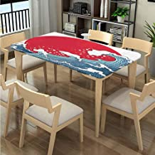LQQBSTORAGE Elastic Edge Cloth Tablecloths, Red Sun Tsunami Pattern Printing, Elastic on The Corner Great for Holiday Dinner Fits Rectangular Tables:96