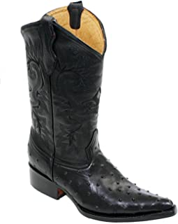 Cowboy Boot's Leather Ostrich Back Cut 2X Toe Cowboy Handmade Luxury Boots Black-12