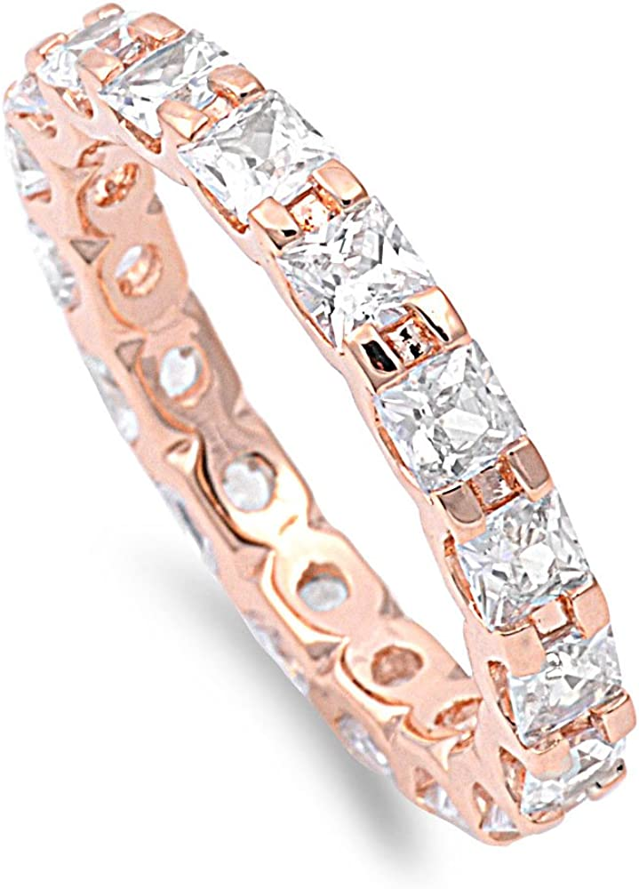 CloseoutWarehouse Rose Gold-Tone Plated Alternating Cub Eternity Max 51% Ranking TOP6 OFF
