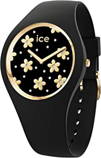 Ice-Watch - Ice Flower Precious Black - Montre Noire pour Femme avec Bracelet en Silicone - 016668 (Medium)