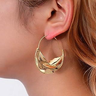 Xerling Statement Silver and Gold Hook Earrings Irregular Leaves Dangle Hoop Earrings Bohemian Trendy Stud Earrings for Women
