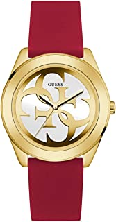 Comfortable Gold-Tone + Red Stain Resistant Silicone Logo Watch. Color: Red (Model: U0911L1)
